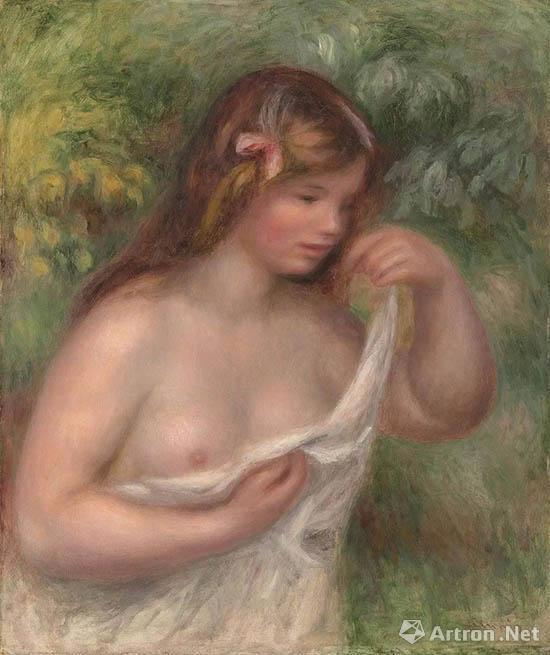 彼埃?奥古斯特?雷诺阿(1841 -1919) 《整理衬衣的少妇 (裸女:露易丝?本格尔)》 油彩画布 65 x 54.4 cm 1905年作 估价:2,500,000 - 4,000,000英镑,成交价:2,965,000英镑