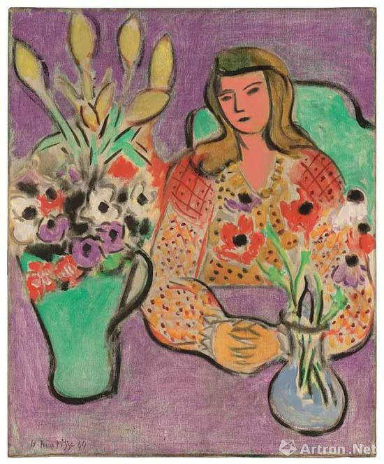 亨利?马蒂斯(1869 - 1954)《紫色背景前的女孩与海葵》 油彩画布 61.3 x 50.1 cm 1944年3月作于威尼斯 估价:5,000,000 - 7,000,000英镑, 成交价:8,453,000英镑