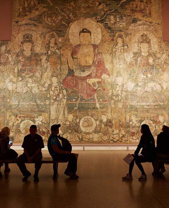 大都会艺术博物馆内展示的中国壁画