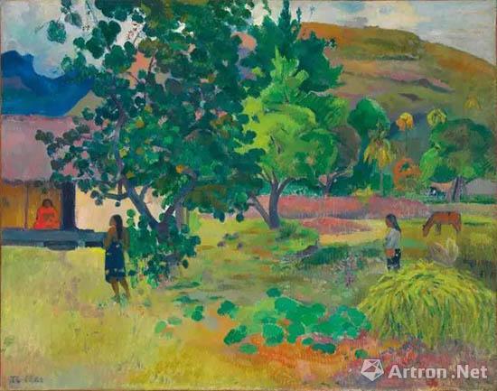 保罗?高更(1848 - 1903)《屋子》 油彩 画布 73 x 92 cm 1892年作 估价:12,000,000 - 18,000,000英镑,成交价:20,325,000英镑