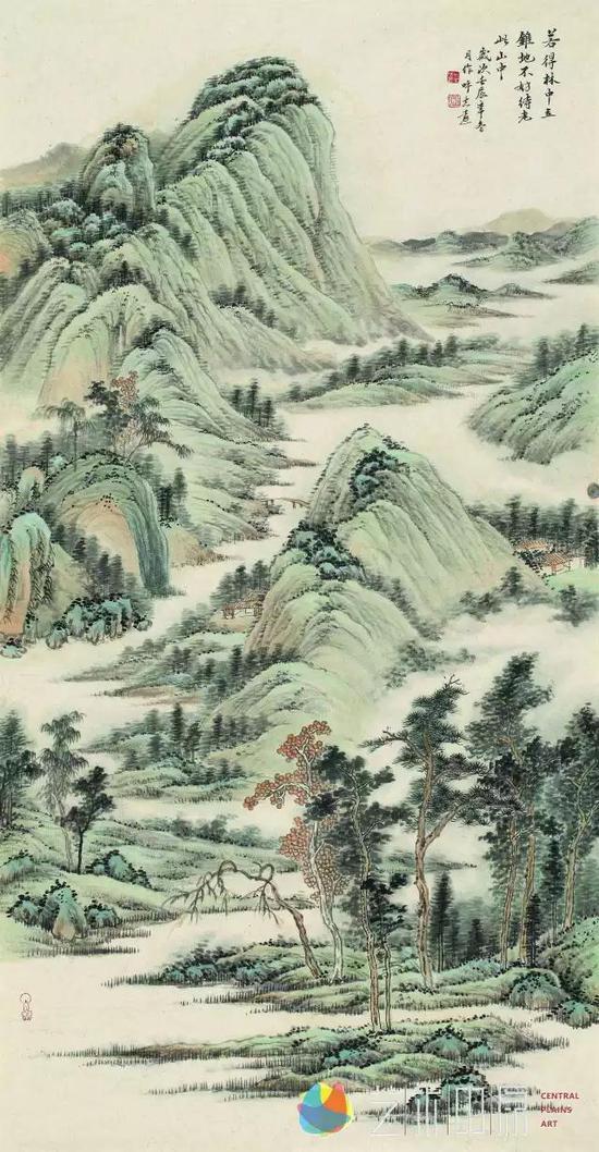 呼志远 若得林中立锥地 不妨待老此山中 142cm×73cm