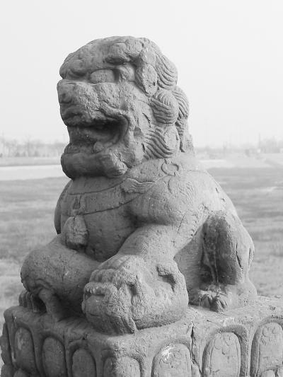 雕刻于明代的卢沟桥石狮。