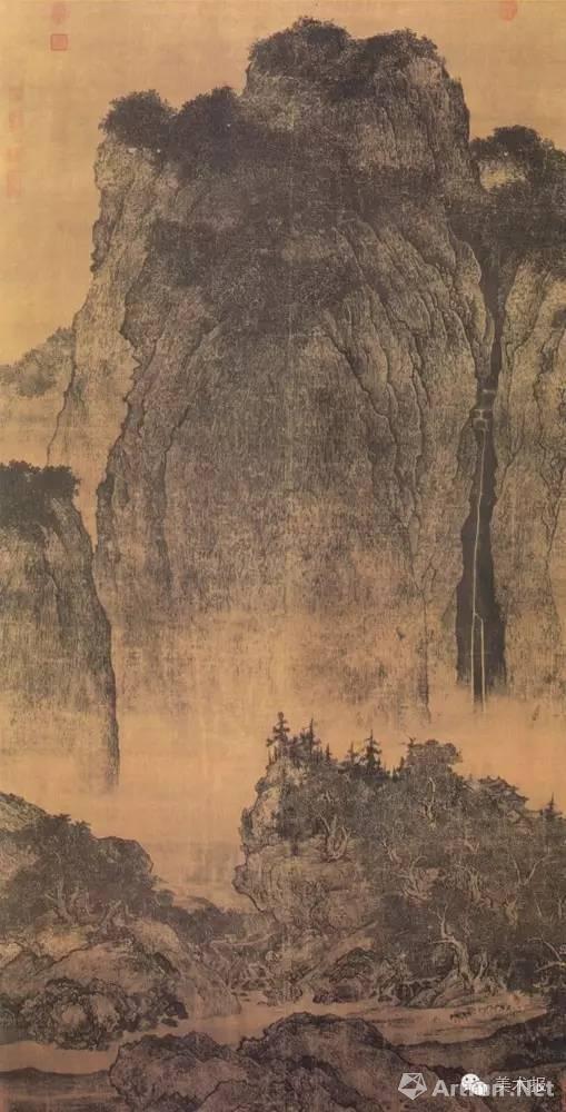 《溪岸图》五代董源 绢本,设色,纵:221.5cm,横:110cm