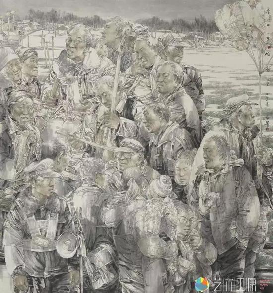 麦田里的画卷  202x190cm  2014