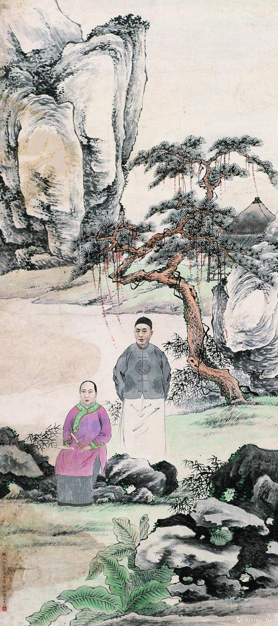 附图3.谢之光 《丁辅之像》 中堂