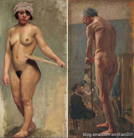 徐悲鸿《人体肖像双面画》73.3×35.5cm×2 2012嘉德春拍拍出816.5万元