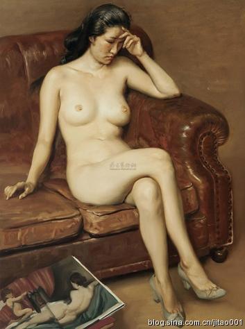 陈丹青布面油画沙发上的女人体101.5×75.5cm2012匡时秋拍380万元