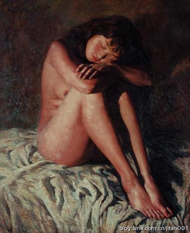 孙为民《灯光人体》 90×76cm 2004嘉德春拍成交于8.8万元