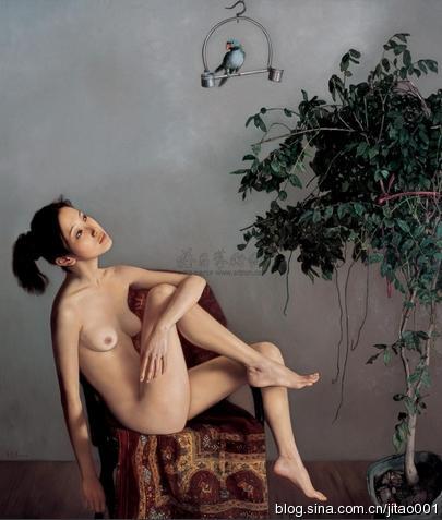 李贵君《戏鹦》 170×145cm 2008嘉德秋拍成交于72.8万元