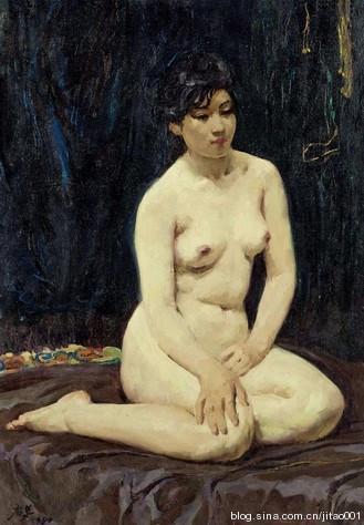 韦启美《深色背景下的女人体》 74.5×52cm 2012匡时秋拍拍出24.15万元