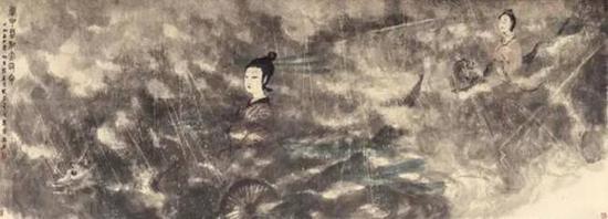 傅抱石1954年作云中君和大司命设色纸本