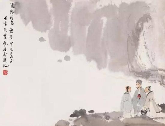 傅抱石1962年作虎溪三笑设色纸本