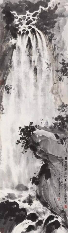 傅抱石 1962年作 疑是银河落九天 设色纸本