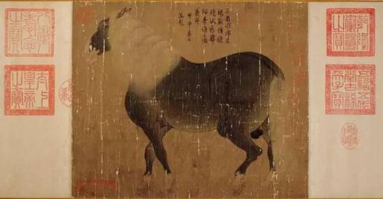 《石渠宝笈》记载为韩干(上等) 马性图