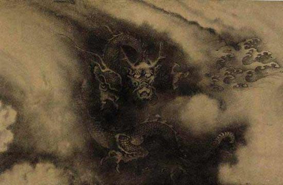 《石渠宝笈》记载为陈容 《六龙图》(局部)
