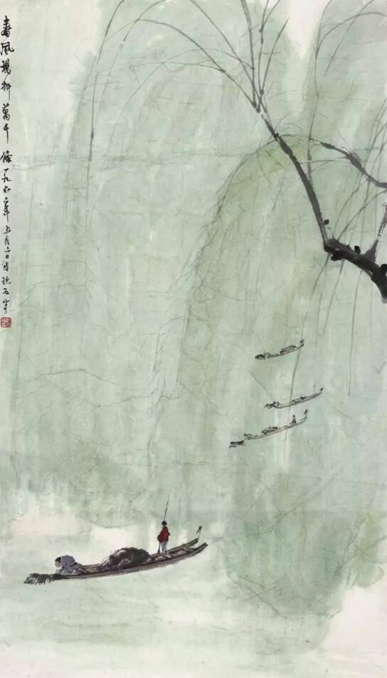 傅抱石1962年作春风杨柳万千条设色纸本