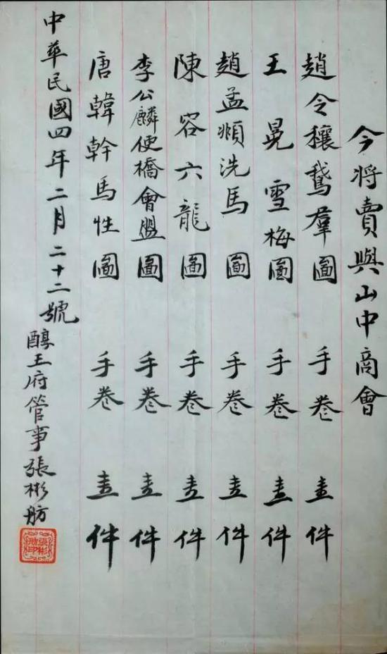 醇王府卖与山中商会的六卷古画字据
