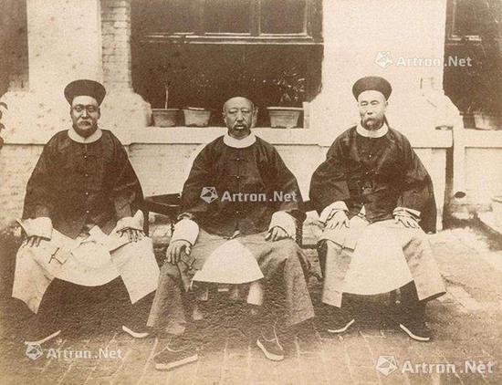 醇亲王 天津巡阅海防时与李鸿章 梁时泰摄 1886年