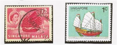 """新加坡发行的""""海南船""""邮票。"""