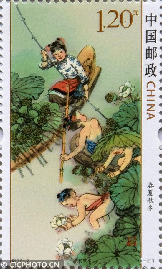 ↑3月20日在中国邮政集团公司邯郸市分公司拍摄的《春夏秋冬》特种邮票之《夏荷戏水》。CICPHOTO/郝群英 摄