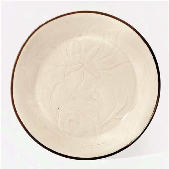 北宋 定窑刻莲纹盘 直径16.5cm