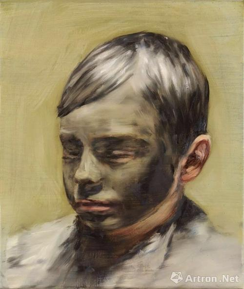 Micha?l Borremans, 《Mud Boy》 (2017年)。布面油画,42 x 36 厘米