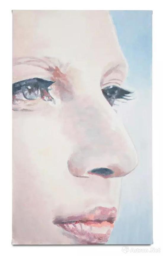 吕克·图伊曼斯, 《K》 (2017年)。 布面油画,135 x 80.2 厘米
