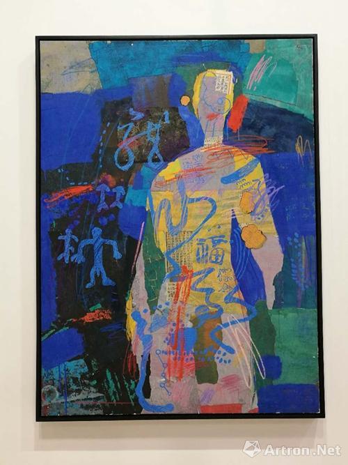 梁铨《父亲》1989-1990 色、墨、宣纸拼贴、120X89cm