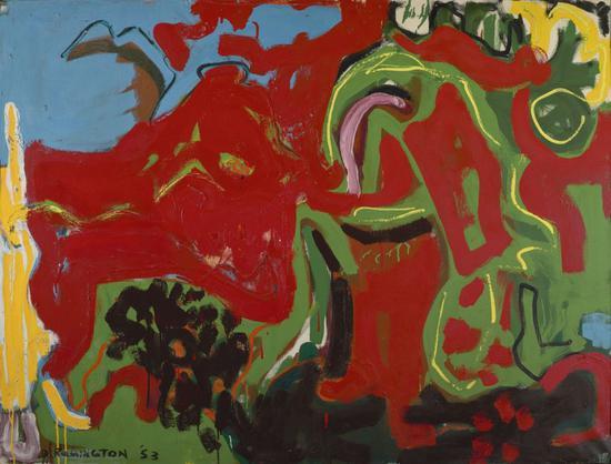 德博拉·雷明顿,《恰当,或无题》(Apropos or Untitled,1953)。    图片:Denver Art Museum: Vance H。 Kirkland Acquisition Fund。 Courtesy of the Deborah Remington Charitable Trust for the Visual Arts。