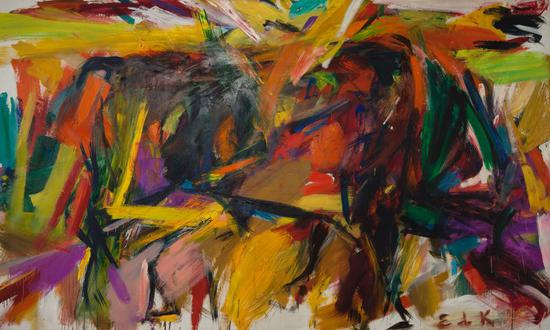 伊莲·德·库宁《斗牛》(Bullfight ,1959)。</p>