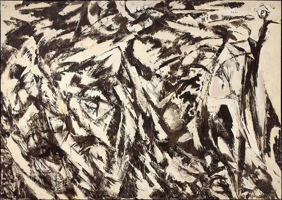 李·克拉斯纳,《 烧焦的风景》(Charred Landscape,1960)。Craig A。 Ponzio藏品。    摄影:William J。 O'Connor。    图片:? 2015 Pollock Krasner Foundation/Artists Rights Society (ARS), New York