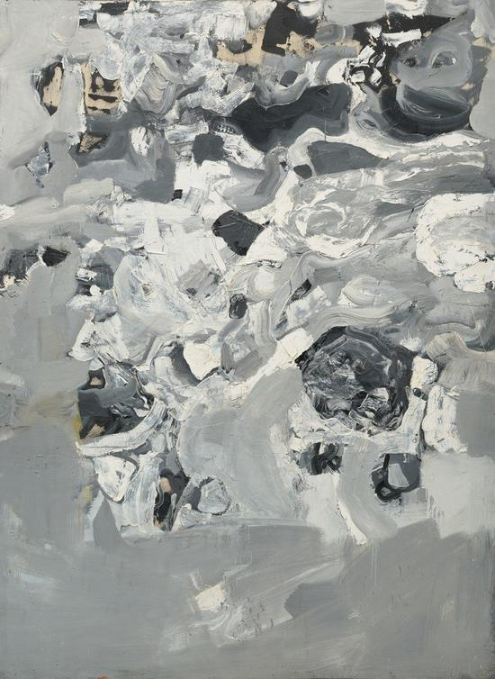 杰·德菲奥,《无题(珠穆朗玛峰)》(Untitled (Everest),1955),山脉系列(Mountain Series)作品之一。加州奥克兰博物馆收藏,杰·德菲奥捐赠。    图片:? 2015 the Jay DeFeo Trust/Artists Rights Society (ARS), New York