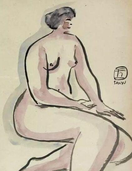 坐姿裸女 1920-1930s,水墨水彩