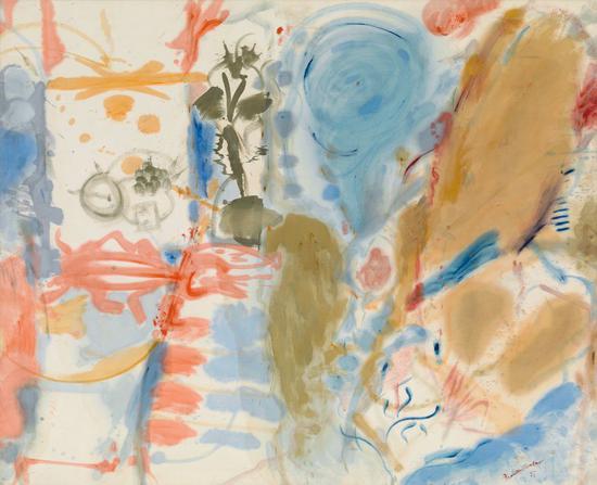 海伦·弗兰肯萨勒,《西方的梦》(Western Dream ,1957)。    图片:纽约海伦·弗兰肯萨勒基金会。? 2016 Helen Frankenthaler Foundation/Artists Rights Society (ARS), New York。    摄影:Rob McKeever, courtesy of Gagosian Gallery