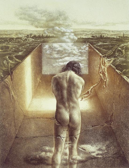 (《亚当创世纪》,清漆和针刻画,35.2X27.6cm,1984年作)