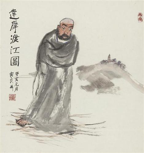 关良创作于1983的《达摩渡江》