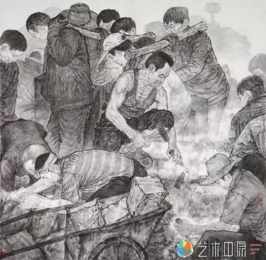 范雷国画《开山人》200x200cm生宣2014年