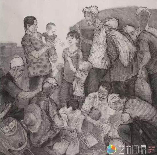 范雷国画《那一方水土》(尺寸:200x220cm)宣纸。2012年