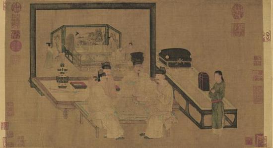 《重屏会棋图》卷,五代,周文矩绘,绢本,设色,纵40.3cm,横70.5cm,北京故宫博物院藏。