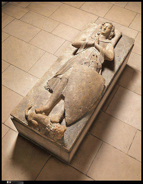 Jean d`Alluye的石灰岩陵墓雕像,13世纪中期,法国。图片:致谢纽约大都会艺术博物馆Cloisters分馆