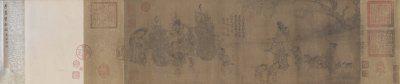 《货郎图》卷,南宋,李嵩作,绢本,设色,纵25.5cm,横70.4cm,北京故宫博物院藏。