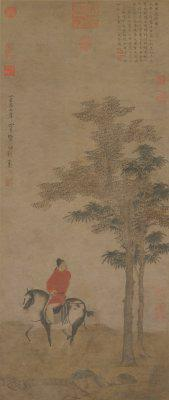 《挟弹游骑图》轴,元,赵雍作,纸本,设色,纵109cm,横46.3cm,北京故宫博物院藏