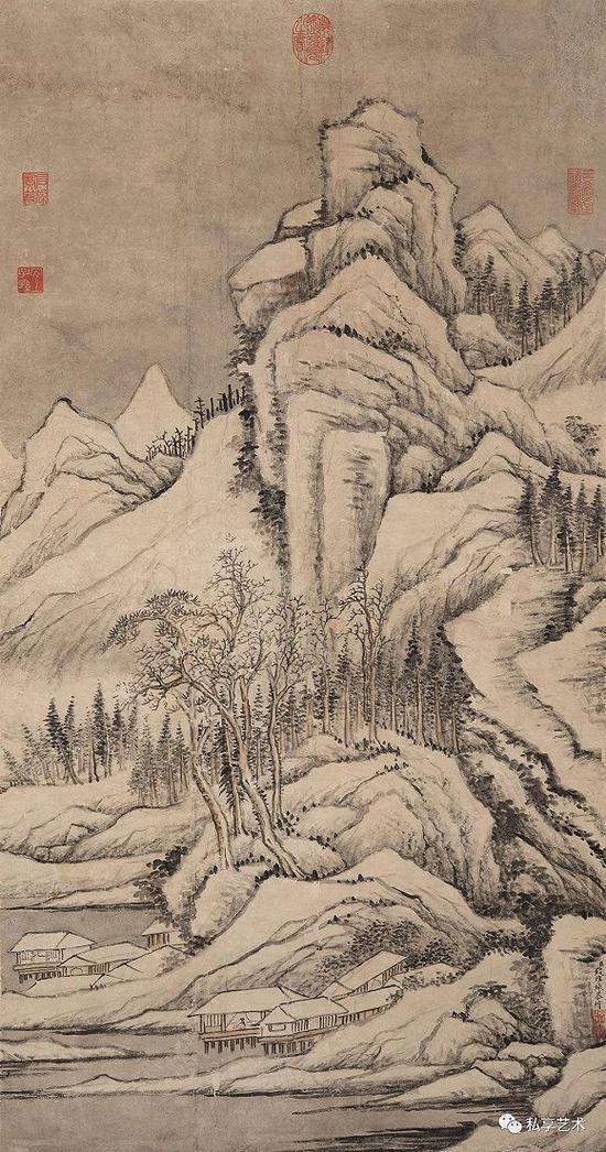 清 钱维成 雪景寒林 立轴 纸本 中国嘉德拍品