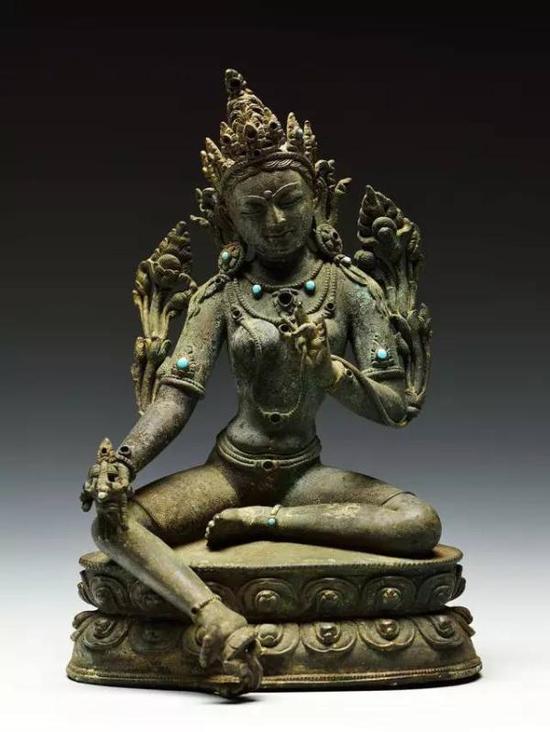 明铜绿度母坐像