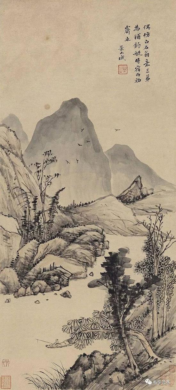 清 钱维成 秋溪钓艇 立轴 设色纸本 中国嘉德拍品