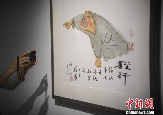 """一位市民拍摄有关""""龙""""题材的生肖画。 杨华峰 摄"""
