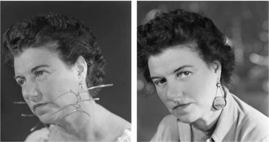 佩吉·古根海姆佩戴考尔德设计的耳环(左),佩戴伊夫·坦吉设计的耳环(右)。图片:致谢Wikipedia