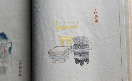 这是明代《十竹斋笺谱》中的一张木版水印作品,线条细致入微,色彩明亮。