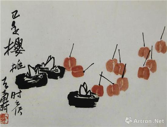 图4、潘天寿《正是樱桃时候》