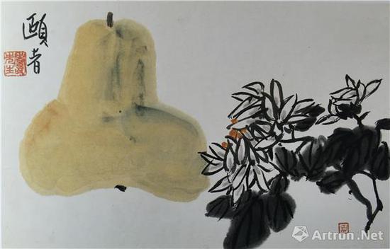 图3、潘天寿《葫芦菊花图》